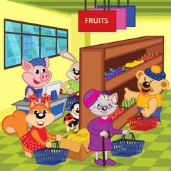 animals in supermarket - vector illustration, eps