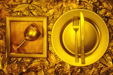 Stll life with plate, fork and knife