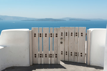 Gates to the typical Oia house in Santorini, Greece