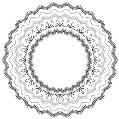 Black lace circle vector