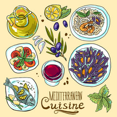 set of mediterranean food