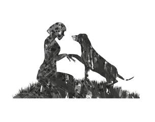silhouette astratta di ragazza col suo cane