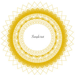 Golden lace circle frame vector background