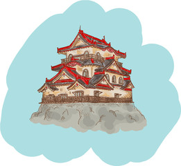Japanese Castle illustration
