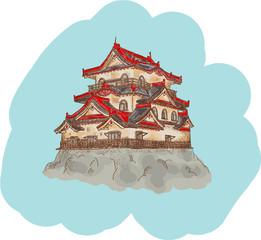 Japanese Castle illustration