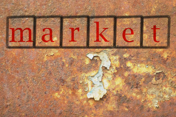 market written on a wall background
