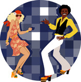 Couple dressed in 1970s fashion dancing disco