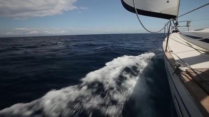 Boat in sailing regatta. Luxury yachts. Set movements.