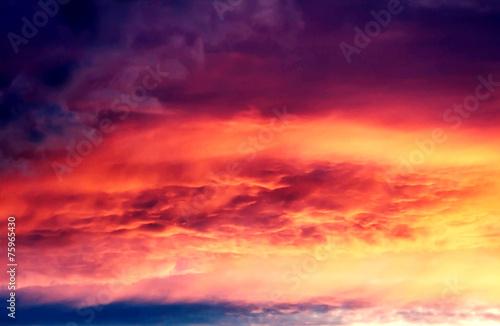 Poster Oranje eclat Beautiful nature background - red sunset, bright sun. Scenic vie