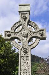 Celtic Cross at Glendalough monastic settlement, Ireland