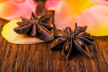 Close-up pink rose petals and star anise on wooden background