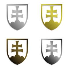 set of four simply isolated metallic Slovak emblems