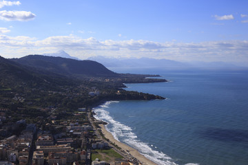Aerial view of Cefalu, Sicily, Italy