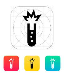 Test tube with explosive substance icon. Vector illustration.