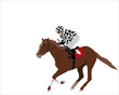 jockey riding race horse illustration - vector