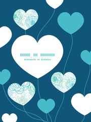 Vector blue line art flowers heart symbol frame pattern