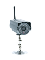 Wireless surveillance camera isolated on white background