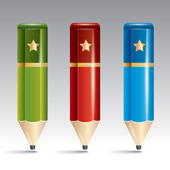 Three vector pencil of different color, green, red, blue