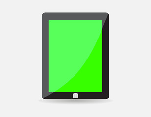 Realistic black tablet with green blank screen