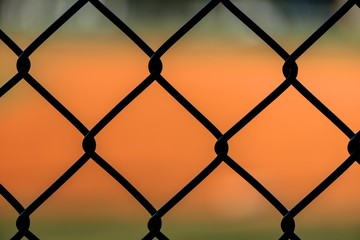 Close Up Chain Link Fence at Baseball Field