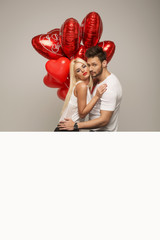 Valentines photo of attractive couple with white space