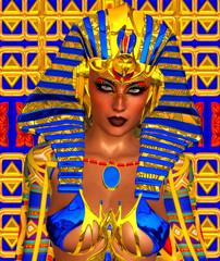 Cleopatra, gold and blue, digital art