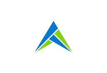 triangle abstract blue and green vector logo