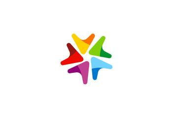 triangle circle star color vector logo