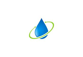 water drop clean recycle logo