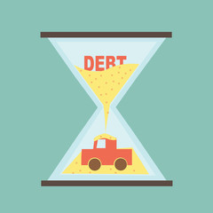 Car Payment - Debt car in hourglass