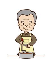 料理するシニア男性
