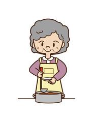 料理するシニア女性