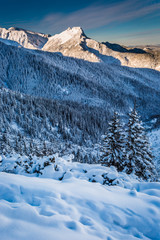 Mountain peaks in the winter dawn