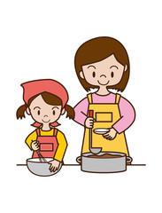 母親の手伝いをする子供