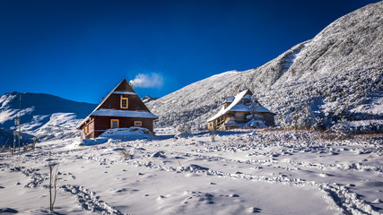 Wooden houses in winter mountains