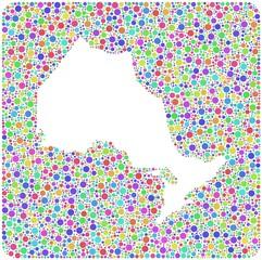 Decorative Map of Ontario - Canada - into a square icon