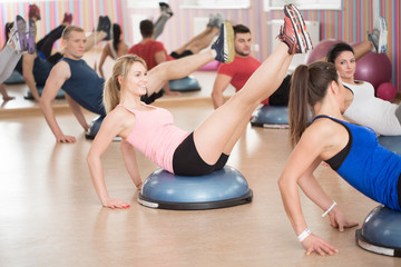 Abs exercise on the bosu