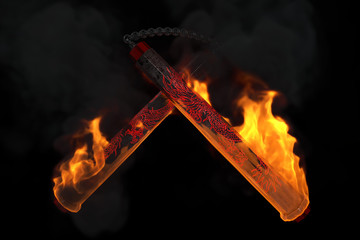 Burning nunchaku