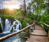 Beautiful view of waterfalls  in Plitvice Lakes National Park.