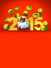 White Sheep And Oranges, 2015 On Red Text Space