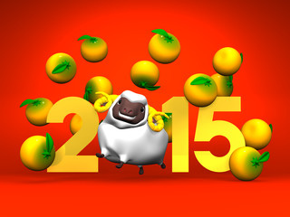 White Sheep And Oranges, 2015 On Red Background