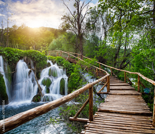 Beautiful view of waterfalls  in Plitvice Lakes National Park. - 75972056