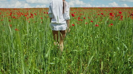 A young girl in a man's shirt is poppy field
