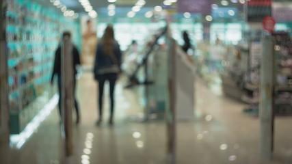 Blurred background : People in Supermarket store blur background