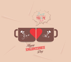 Happy valentines day with couple cup of coffee