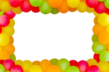 Colorful balloons frame on white background