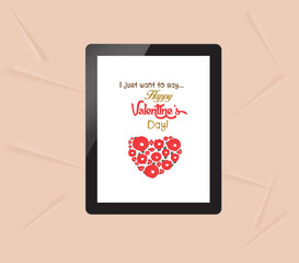 happy valentine with greeting card in tablet