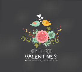 valentines day Romantic floral and bird greeting card
