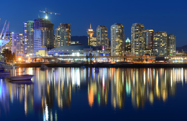 Vancouver City skyline and Rogers Arena at night, Vancouver, BC