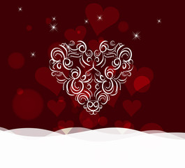 Background with ornament heart by valentines day